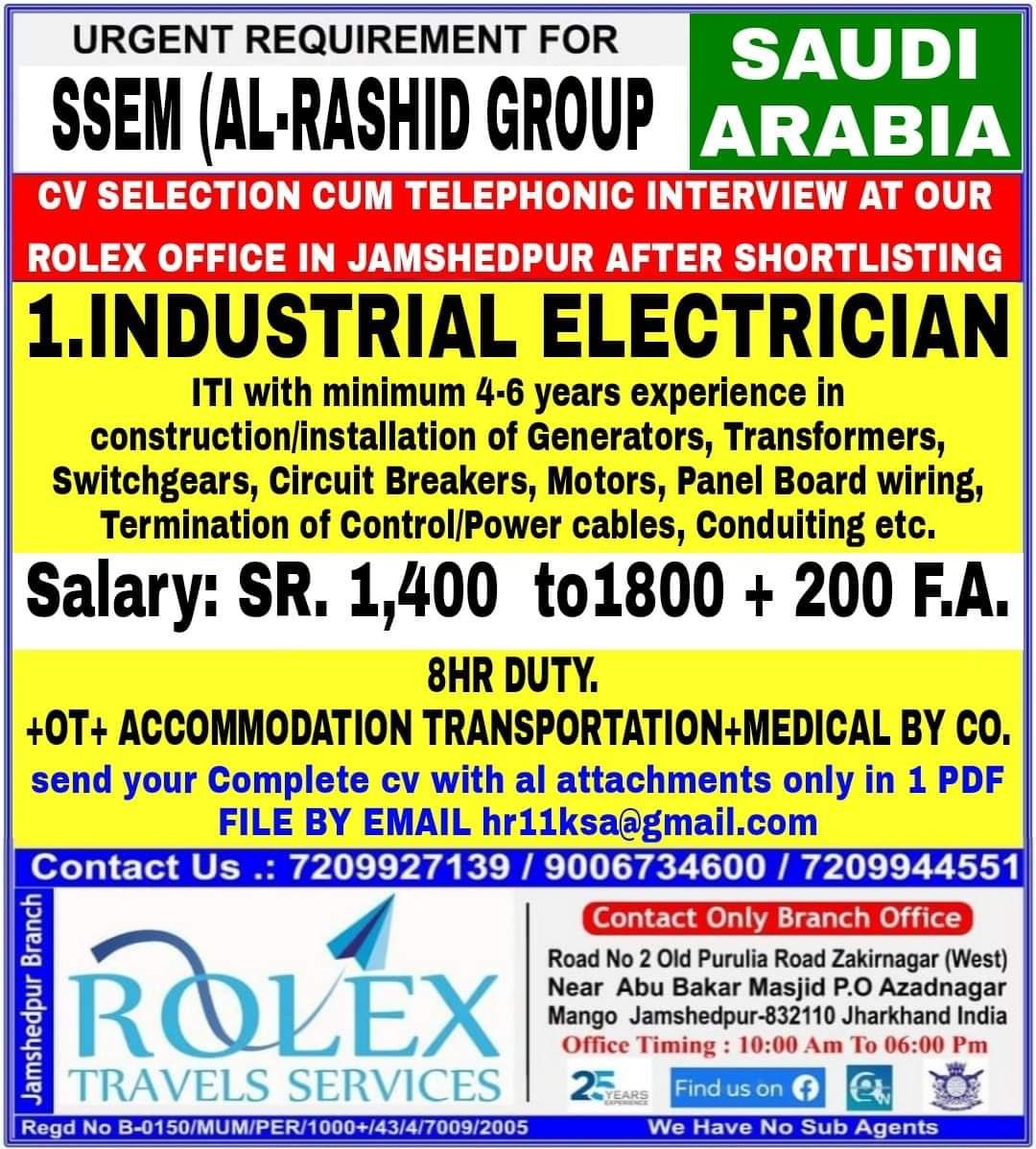 WALK IN INTERVIEWS AT JAMSHEDPUR FOR SAUDI ARABIA