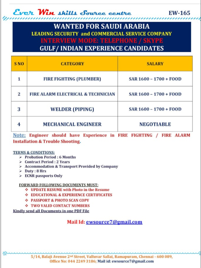 WALK-IN INTERVIEW AT CHENNAI FOR SECURITY AND COMMERCIAL SERVICE COMPANY