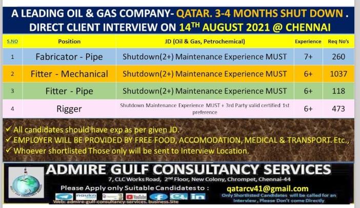 WALK-IN INTERVIEW AT CHENNAI FOR OIL AND GAS COMPANY QATAR SHUTDOWN