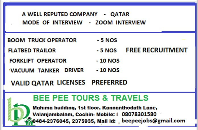 WALK-IN INTERVIEW AT COCHIN FOR QATAR WELL REPUTED COMPANY