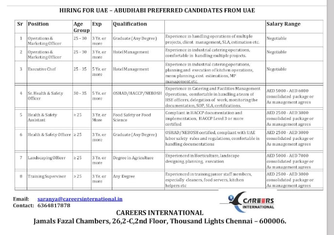 WALK-IN INTERVIEW AT CHENNAI FOR UAE – ABUDHABI PREFERRED CANDIDATES FROM UAE