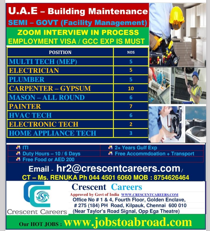 WALK-IN INTERVIEW AT CHENNAI FOR UAE BUILDING MAINTENANCE SEMI-GOVT(FACILITY MANAGEMENT)