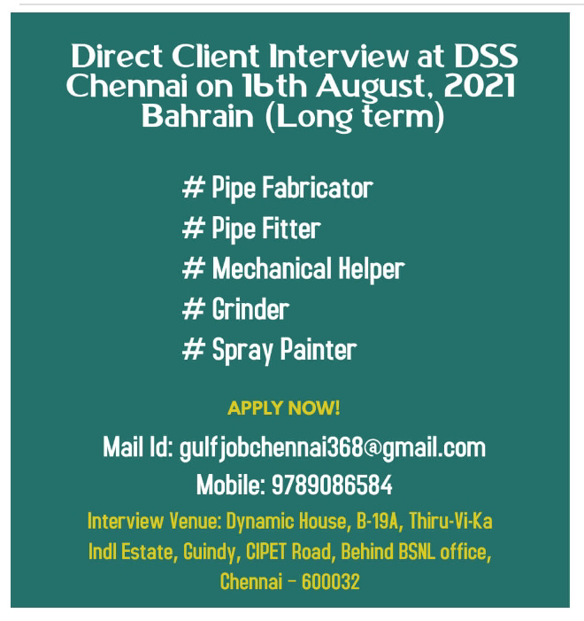 WALK-IN-INTERVIEW IN CHENNAI FOR A COMPANY AT  BAHRAIN