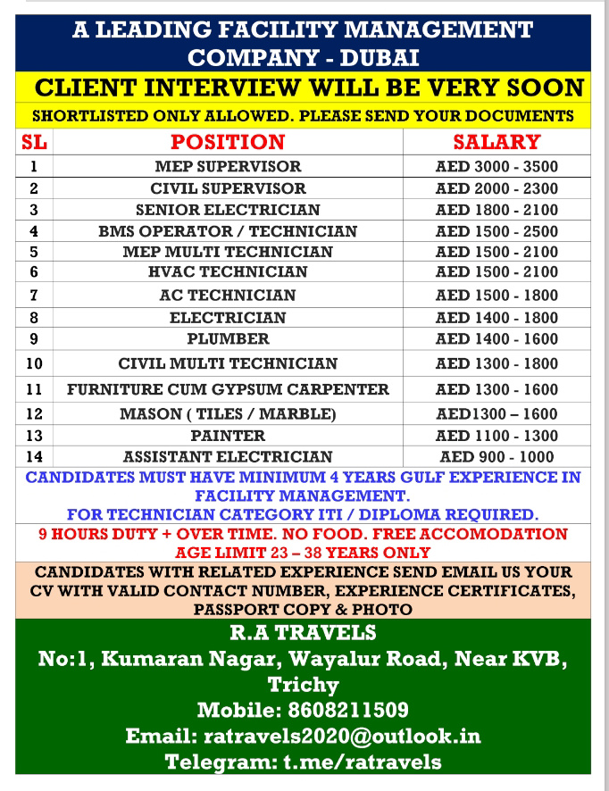 WALK IN INTERVIEW IN TRICHY FOR A LEADING COMPANY IN DUBAI