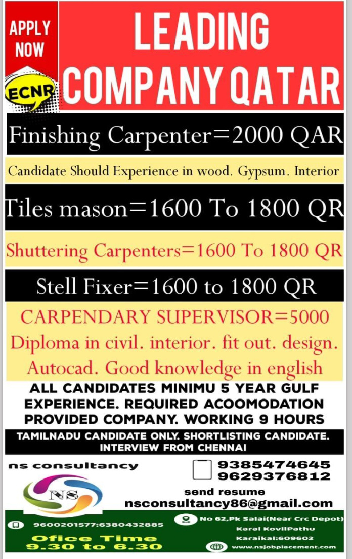 WALK IN INTERVIEW IN KARAIKAL FOR A REPUTED COMPANY IN QATAR