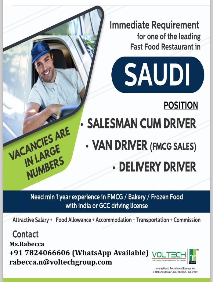 WALK IN INTERVIEW IN CHENNAI FOR A REPUTED COMPANY IN SAUDI