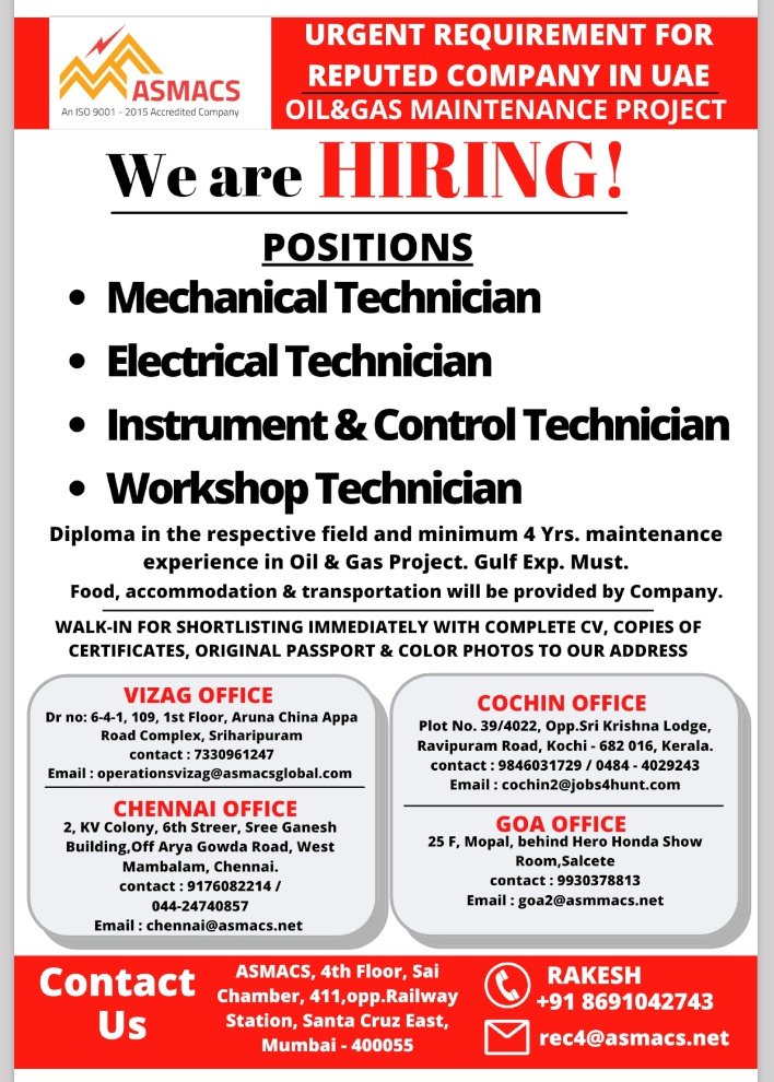 WALK-IN INTERVIEW AT VIZAG, COCHIN, CHENNAI, GOA FOR OIL AND GAS MAINTENANCE PROJECT UAE