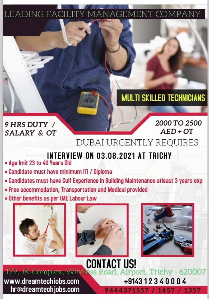 WALK-IN INTERVIEW AT TRICHY FOR DUBAI LEADING FACILITY MANAGEMENT COMPANY MULTI SKILLED TECHNICIAN