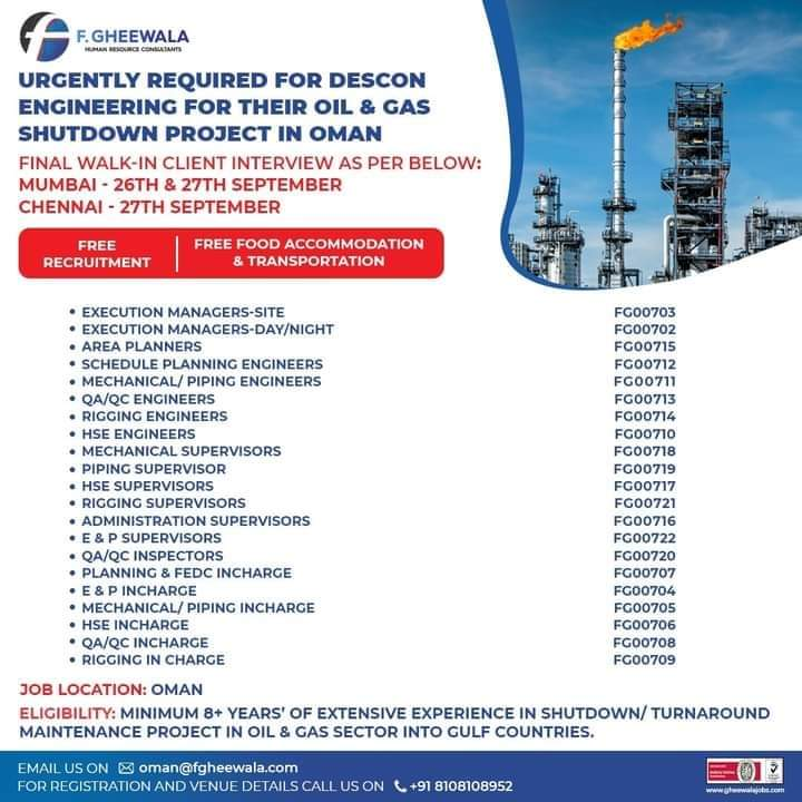 WALK-IN INTERVIEW AT MUMBAI FOR OMAN DESCON ENGINEERING OIL AND GAS SHUTDOWN PORJECT