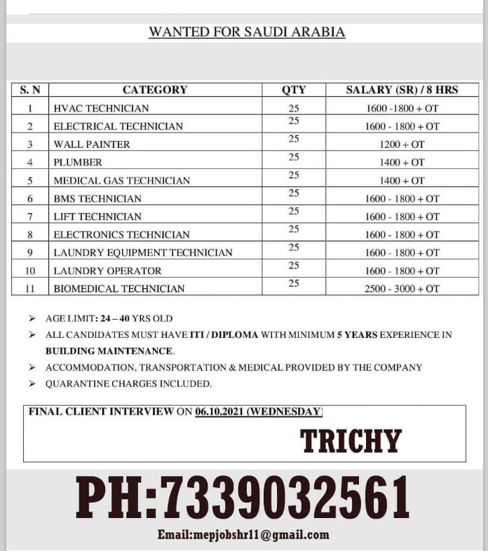 WALK IN INTERVIEW AT TRICHY FOR SAUDI