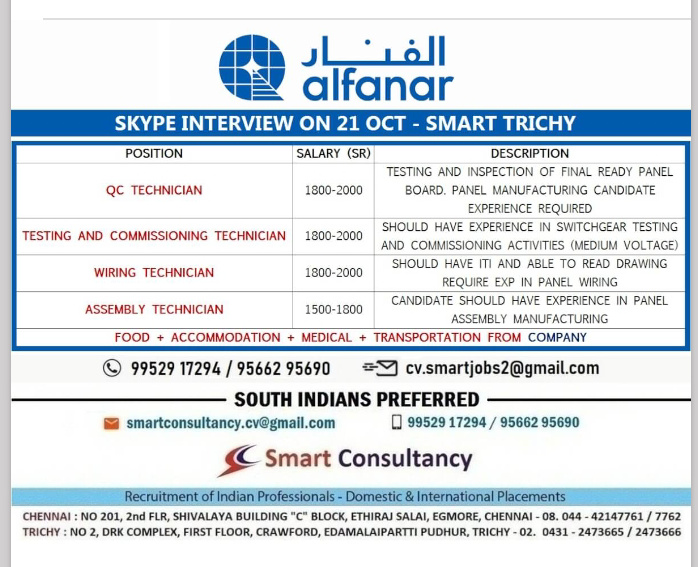 WALK IN INTERVIEW AT TRICHY FOR QATAR