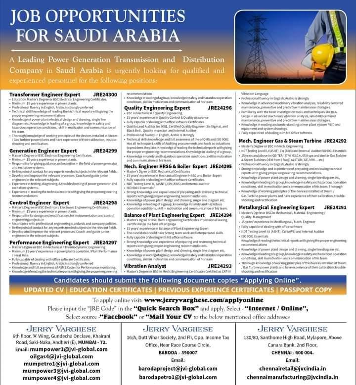 WALK IN INTERVIEW AT MUMBAI FOR SAUDI ARABIA